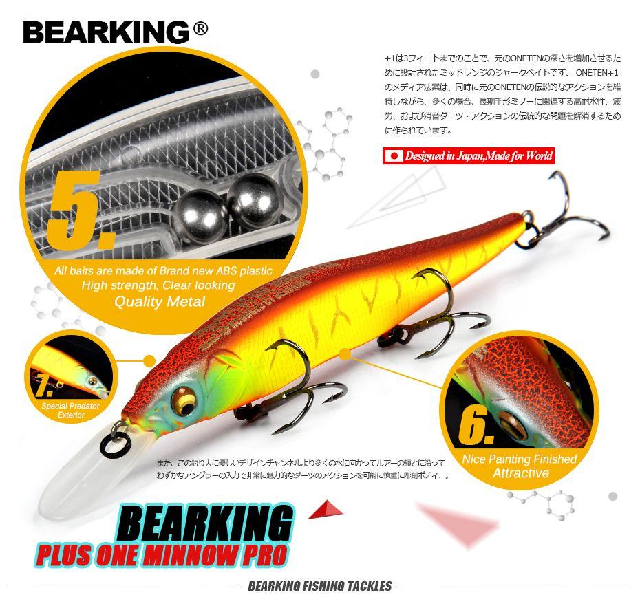 Grand Escompte! détail leurres de pêche, couleurs assorties qualité Minnow 110mm 14g, De Tungstène balle bearking 2017 modèle appât à manivelle