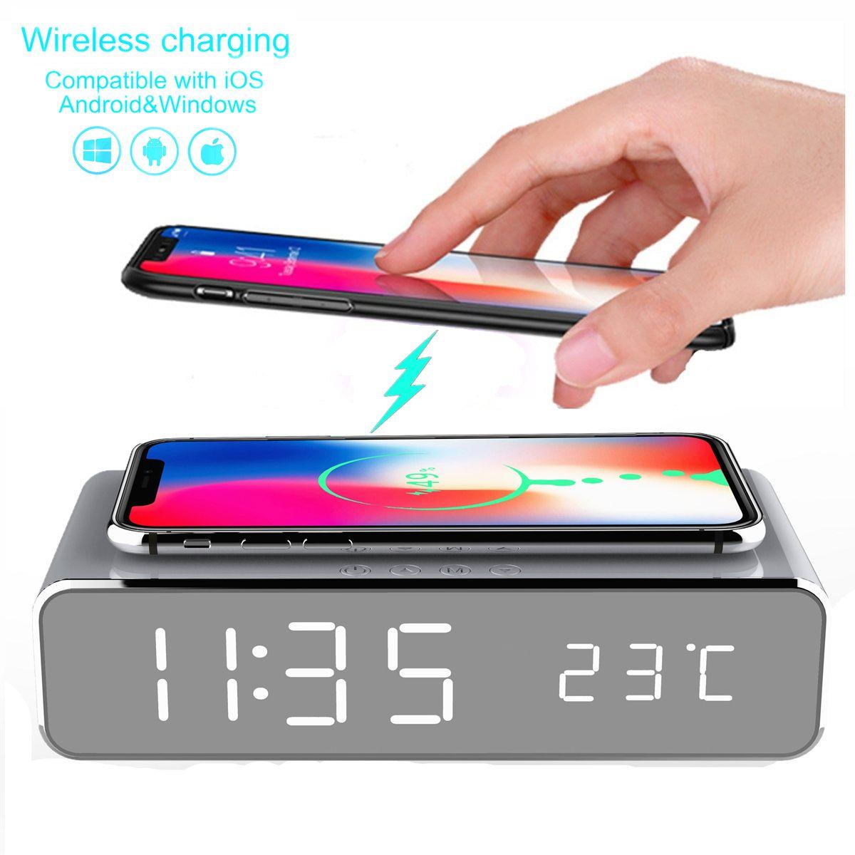 LED électrique réveil avec téléphone chargeur sans fil bureau thermomètre numérique horloge HD horloge miroir avec mémoire de temps