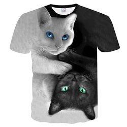 Fashion 2018 New Cool T-shirt Men/Women 3d Tshirt Print two cat Short Sleeve Summer Tops Tees T shirt Male M-5XL