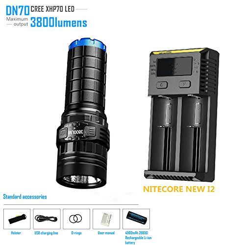 Rechargeable Flashlight IMALENT DN70 max. 3800LM beam throw 325m torch + 26650 4500mAh battery + NITECORE NEW I2 Smart Charger