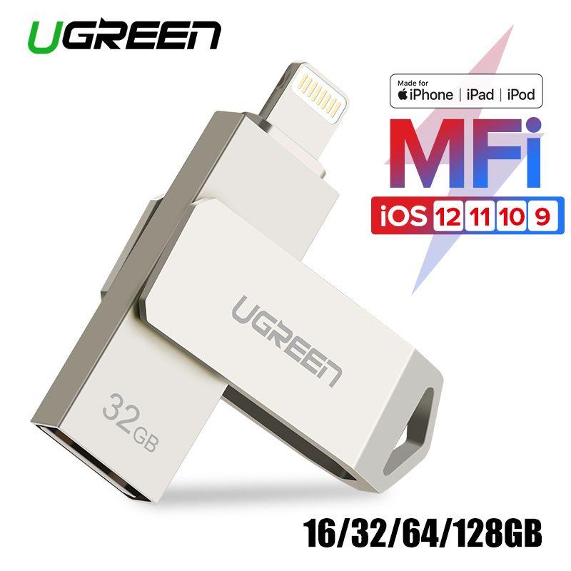 Ugreen USB Flash Drive USB Pendrive for iPhone Xs Max X 8 7 6 iPad 16/32/64/128 GB Memory Stick USB <font><b>Key</b></font> MFi Lightning Pen drive