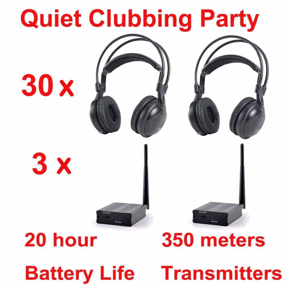 Professional Silent Disco compete system wireless headphones - Quiet Clubbing Party Bundle (30 Headphones + 3 Transmitters)