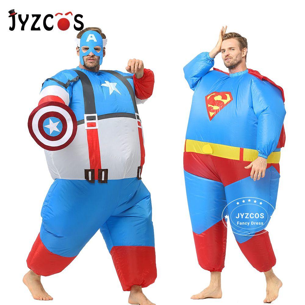 JYZCOS gonflable gros Superman Batman capitaine amérique Costumes d'halloween pour adulte enfants fête Cosplay super-héros déguisements