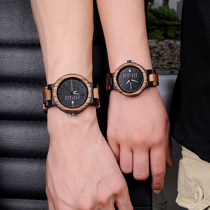 BOBO BIRD Bamboo Wooden Lover Watches Men Show Date Ladies Wrist Watch Women Quartz Clock Male Gift in Wood Box