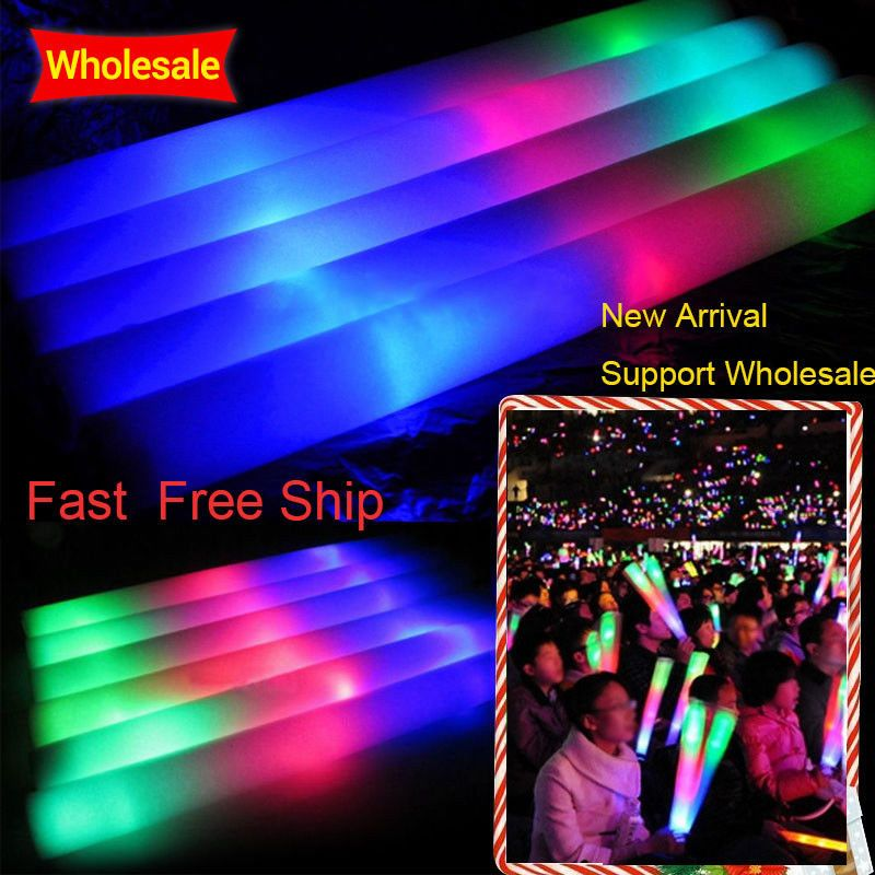 100Pcs/Lot Colorful Foam Stick LED Glow Stick Fluorescent Glow Rally Rave Cheer Tube Baton Wands Party Festival Light Stick