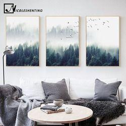 Nordique Décoration Forêt Paysage Mur Art Toile Affiche et Impression Toile À la main Image Décorative pour Salon Décor À La Maison