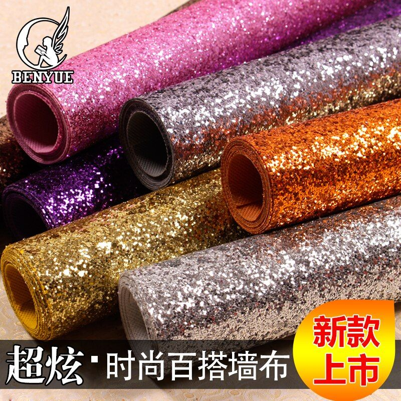 15 Colors Black white silver gold purple pink shiny shine glitter wallpaper sparkly wall paper roll,for living room bed room
