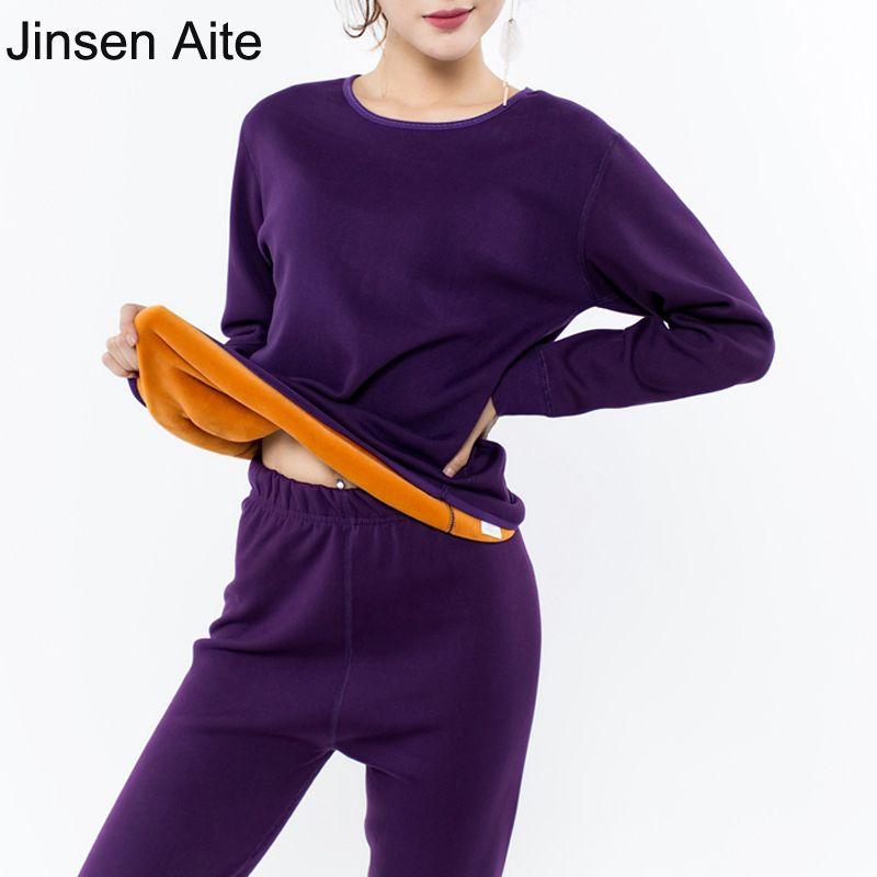Jinsen Aite Nouveau 2XL-6XL Plus Taille D'hiver Épaisse Toison de Femmes Long Johns Ensembles Chaud Femme Thermique Ensemble de Sous-Vêtements Corps costumes JS243