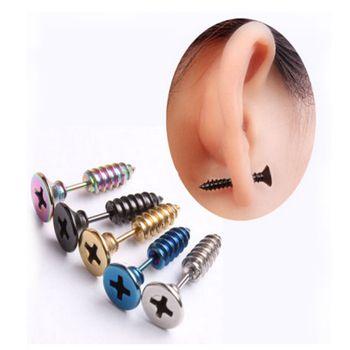 Punk Style Stainless Steel 5 Colors Stud Earrings Men Women Ear Jewelry Rock Gothic Unisex Piercing Earring Free shipping