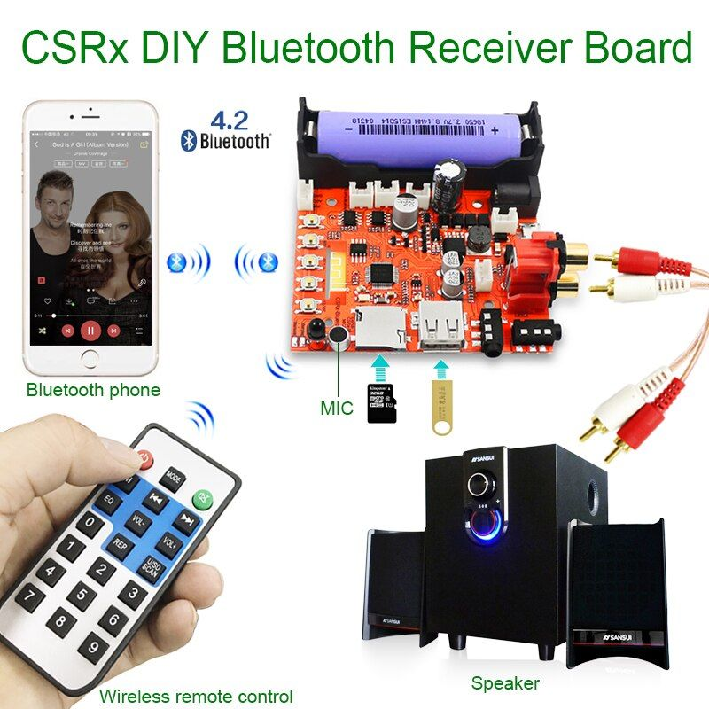 RSE 3.5mm sans fil bluetooth audio récepteur module DIY conseil MP3 musique ordinateur subwoofer stéréo mini USB portable HiFi haut-parleur