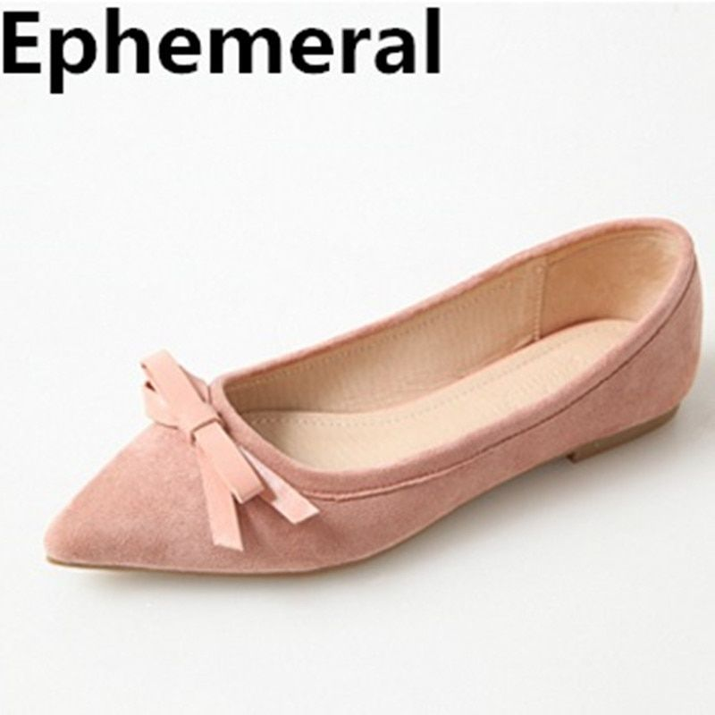 Women's Bowtie Butterfly-knot Ballet Flats Cute Shoes Pointed Toe Loafers Plus Size 17 3 45 Black Grey Pink Fashion Brand 2018