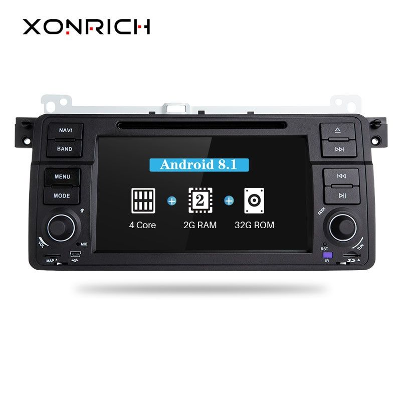 Xonrich Car DVD Player 1 Din Android 8.1 For BMW E46 M3 318i/320/325/330/335 Rover 75 MG ZT Radio Audio Stereo GPS Navigation BT
