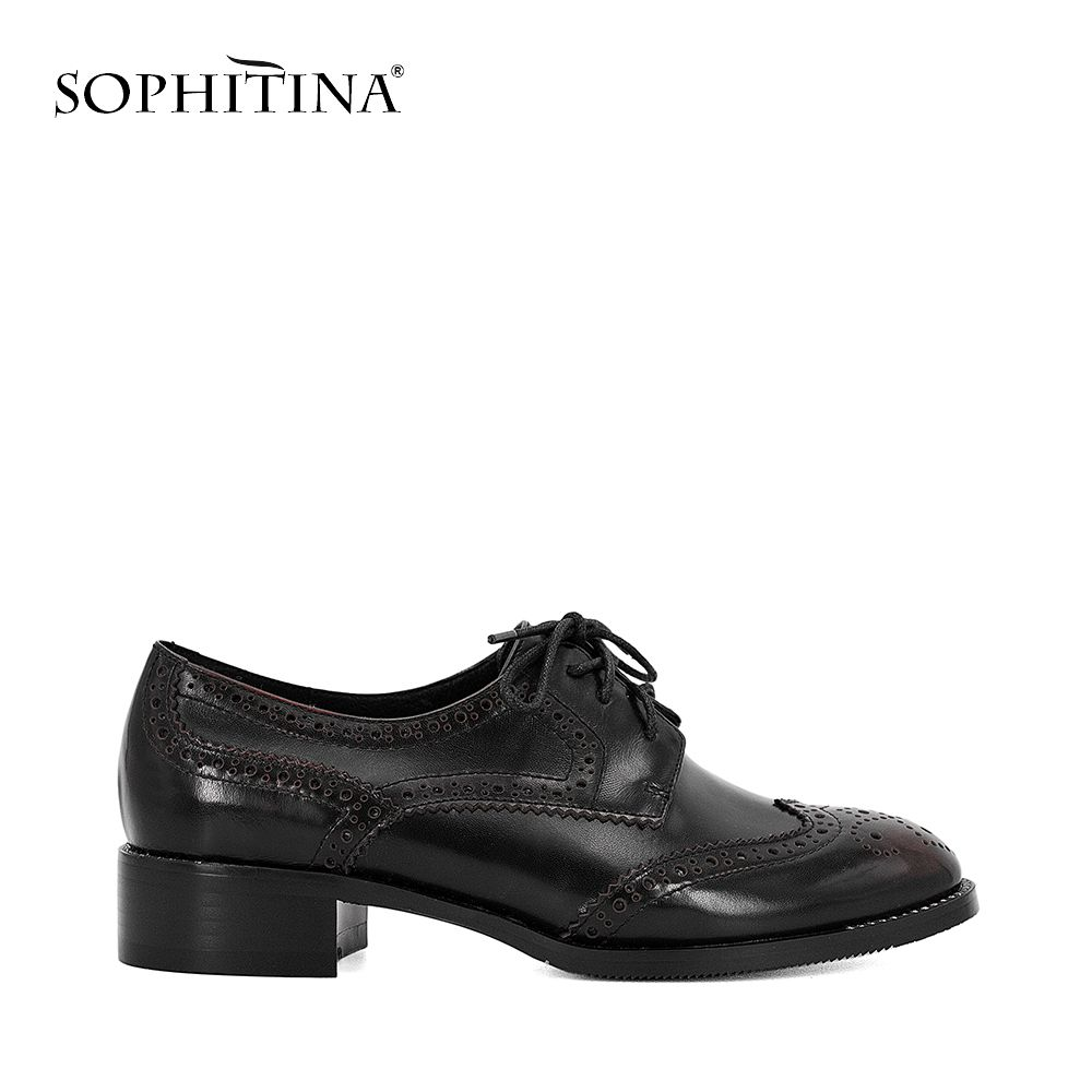 SOPHITINA Genuine Leather Pump Oxford Retro Square Heel Round Toe Lace up Shoes Solid Casual Office Lady British Style Shoes W19