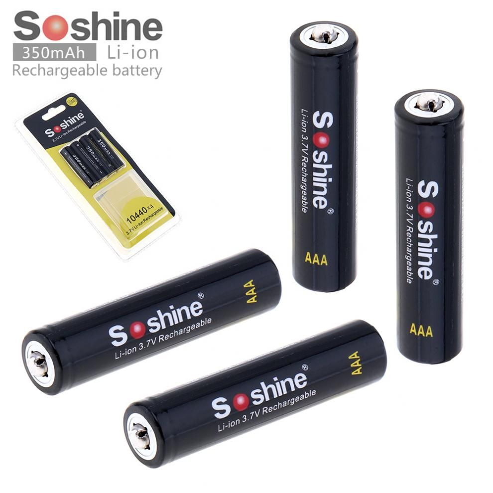 4 pièces Soshine 3.7V 350mAh haute capacité 10440 Li-ion batterie Rechargeable AAA batterie pour lampes de poche LED phares