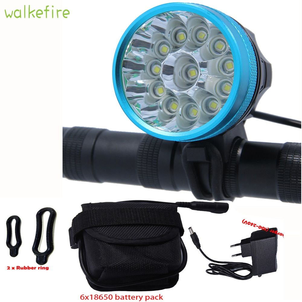 Walkfire Waterproof Bike Light Headlamp 20000 lumens 12 x XML T6 LED Bicycle Cycling Head Light + 18650 Battery Pack +Charger