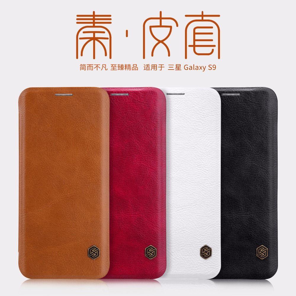 Étui pour Samsung S7 Edge S8 S9 Plus Note 8 A8 Plus 2018 NILLKIN Qin Series étui en cuir véritable pour Samsung Galaxy S9