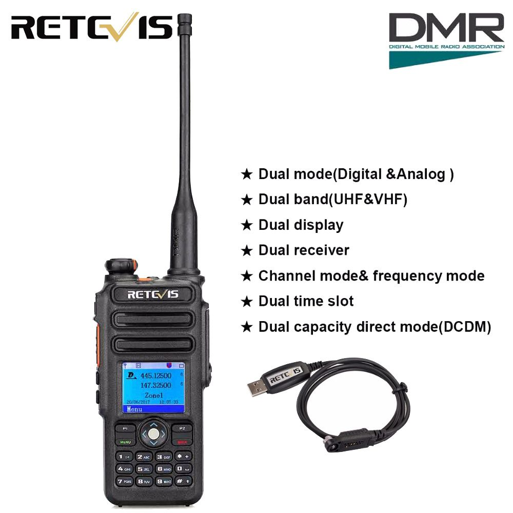 Retevis RT82 GPS Dual Band DMR Radio Digital Walkie Talkie DCDM TDMA IP67 Waterproof Hf Transceiver Ham Radio Comunicador