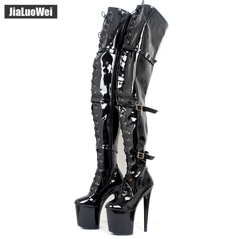 jialuowei Women Fashion 20CM Thin High Heels 9CM platform Sexy Fetish Pointed Toe Buckle Over-the-Knee Thigh high Dance Boots
