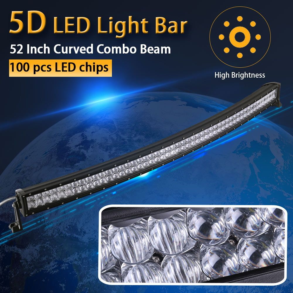 Real Power 5D 52 Inch 132cm Curved LED Light Bar 12V 24V Combo Beam for Offroad Boat Car Truck ATV SUV 4WD 4x4 Work Lamp