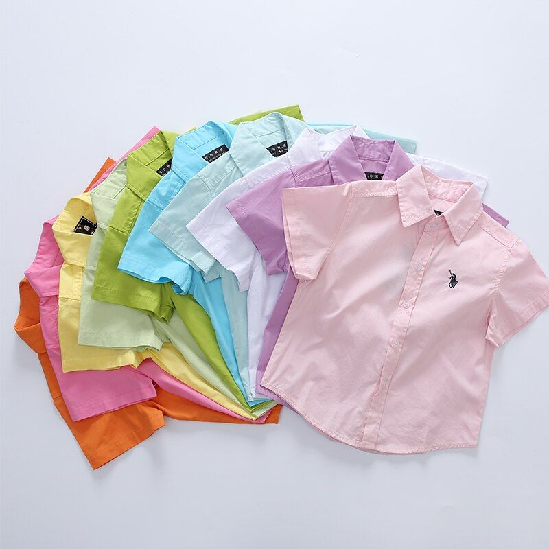 2017 Hot Sale <font><b>Promotion</b></font> Baby Kids Solid 100% Cotton Short Sleeve School Shirts For Boys Summer Children's clothing 100-160cm