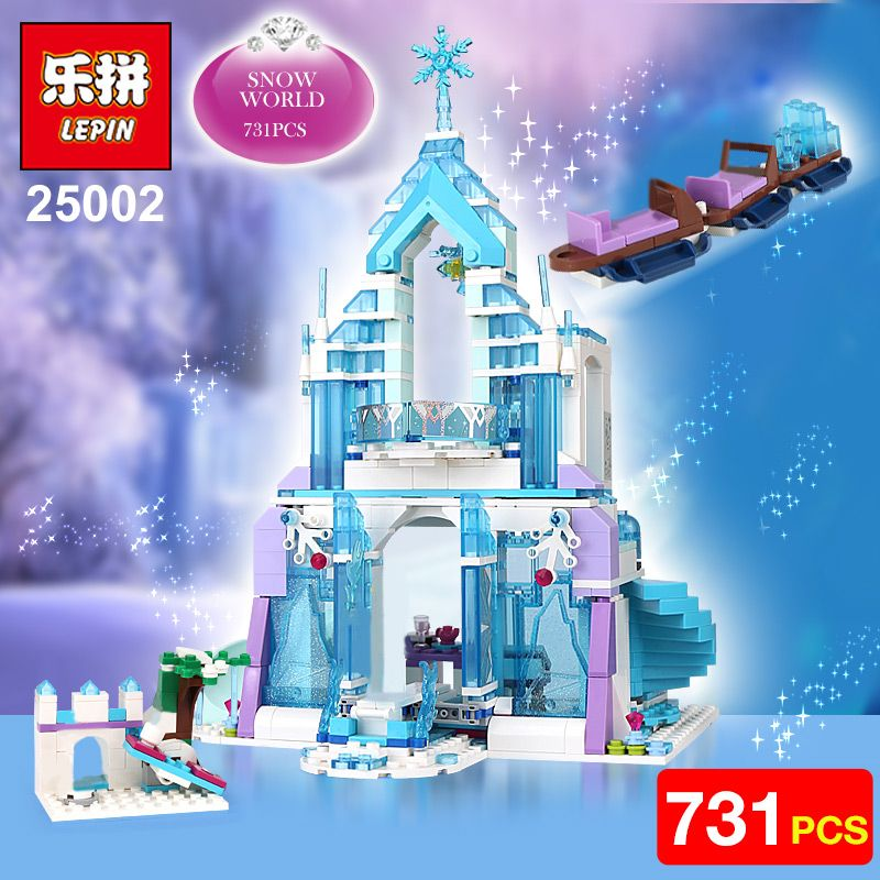 Lepin 25002 Snow World Series The Elsa`s Magical Ice Castle Set Building Blocks Bricks Toys Girl friend with 41148 birthday gift