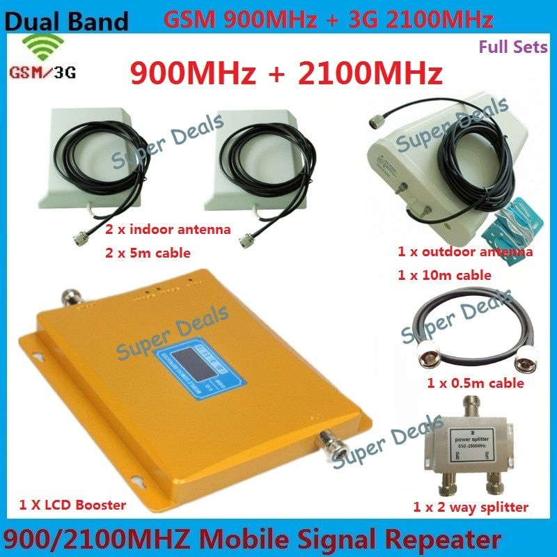 LCD Display GSM Signal Booster 3G Dual Band Amplifier 2G+3G Dual Bar Band cellular signal booster Repetidor Expander For 2 room