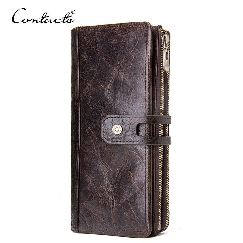 CONTACT'S 2018 Luxury Male Genuine Leather Purse Men's Clutch Wallets With Cell Phone Pocket Wallets Long Design Dollar Price