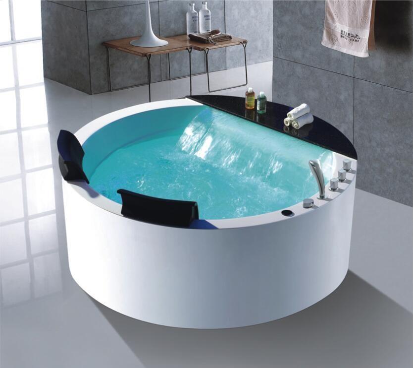 1500mm Runde Whirlpool Badewanne Acryl Hydromassage Wasserfall Doppel Menschen Badewanne NS1106