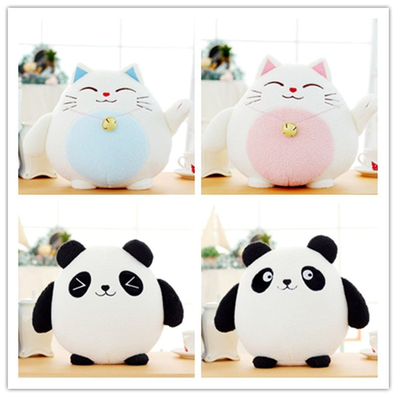 1pc 18cm Kawaii Fortune Cat Plush Toys Stuffed Lucky Cat Panda With Bamboo Bag Plush Animals Doll Toys Car Decoration Gifts