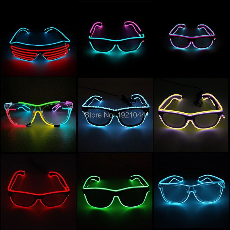 Offres spéciales EL lunettes EL fil mode néon lumière LED Up obturateur en forme de lunettes Rave Festival fête décorative lunettes de soleil