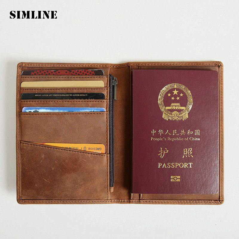 Brand Vintage Genuine Crazy Horse Leather Men Men's Passport Wallet Wallets Cover Purse Card Holder With Zipper Coin Pocket Male