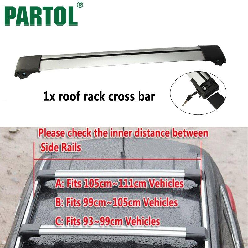 Partol 1x Universal Car Roof Rack Crossbar Cross Bar Roof Rail Top Box Luggage Boat Carrier Snowboard 93 99 105 111cm vehicles