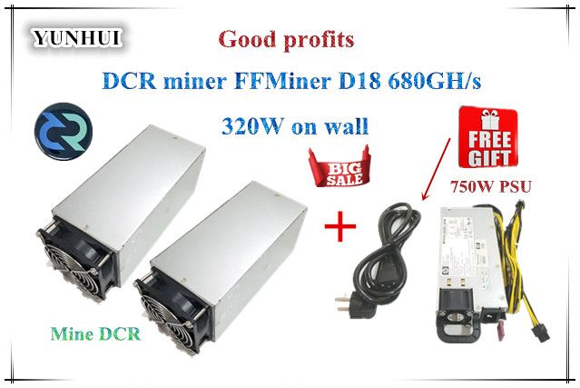 DCR miner FFMiner D18 680GH/S 320W 1 set Cost-effectiveness is higher than Innosilicon D9 for DCR With PSU good profits