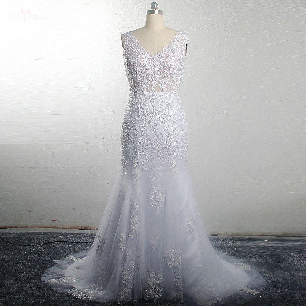 RSW1488 2019 Inside Mermaid Dress Lace Sleeveless V Neckline Detachable Skirt Two Piece Wedding Dress