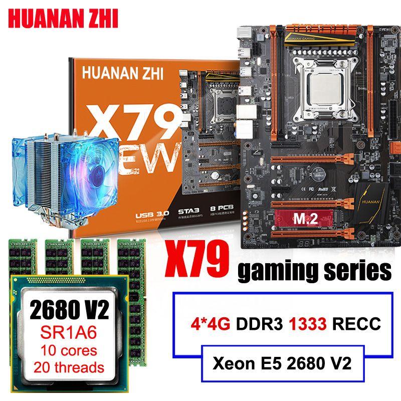 Werbe HUANAN ZHI Deluxe gaming X79 motherboard mit M.2 slot CPU Xeon E5 2680 V2 SR1A6 mit CPU kühler RAM 16G (4*4G) RECC