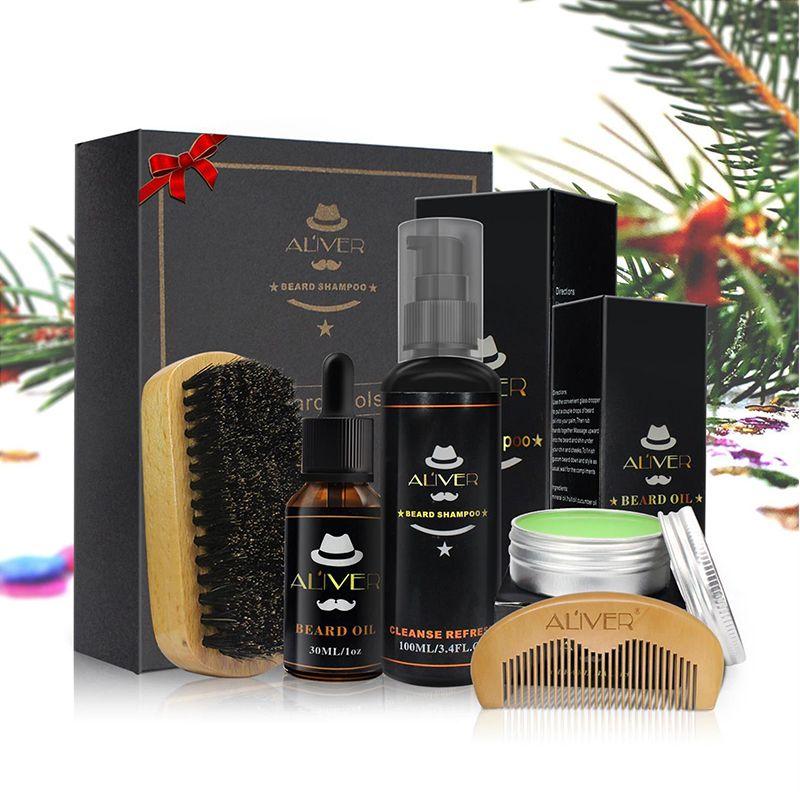 Aliver barbe propre ensemble avec shampooing essentiel brosse peigne huile crème pour hommes fait doux nettoyer rafraîchir et Nature kit de toilettage