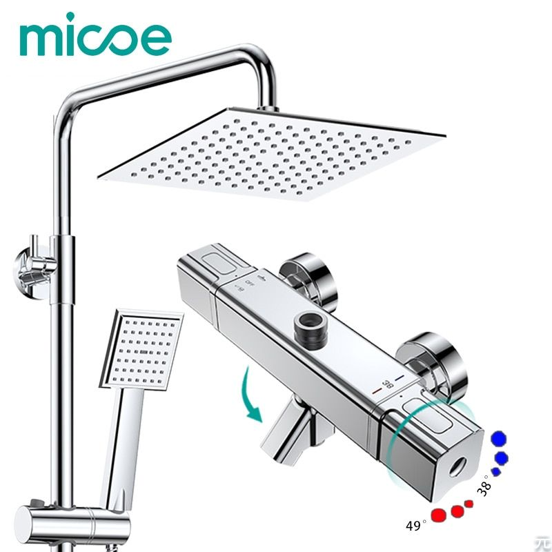 Micoe shower set smart thermostat copper faucet large area water jet top spray ABS single function shower nozzle bathroom mixer