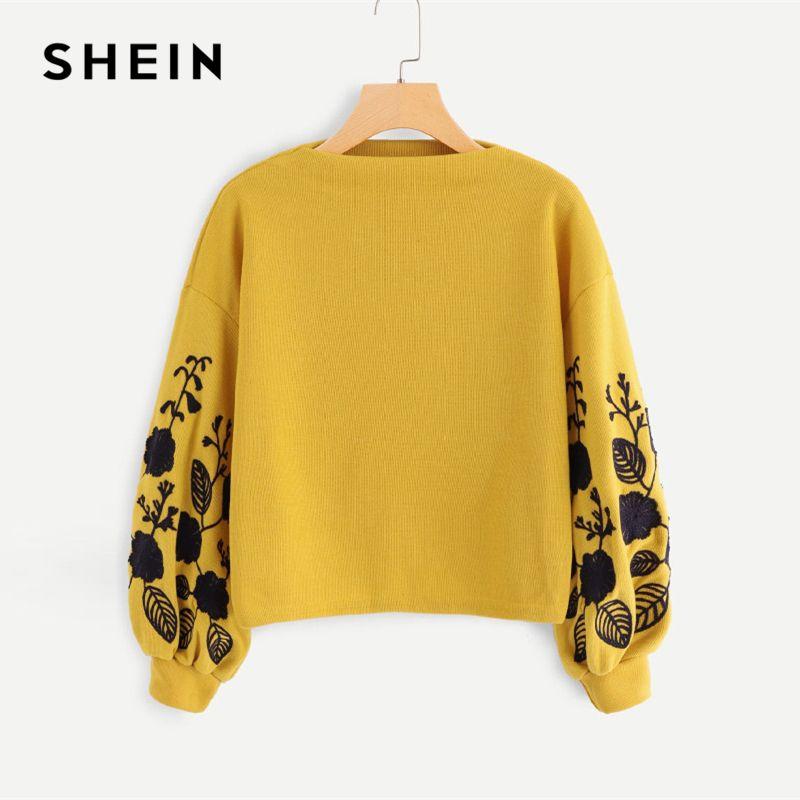 SHEIN Ginger Preppy Elegant Floral Embroidered Cowl Neck Bishop Sleeve Sweatshirt 2018 Autumn Casual Women Pullovers Sweatshirts