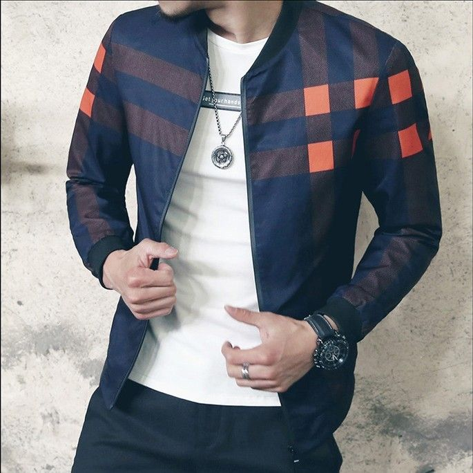 2018 Retro Plaid Check Jacket Vintage Bomber Print Jacket Men Jaqueta Masculina Bomber Outfit Men Plaid Club Outfit Men Navy Red