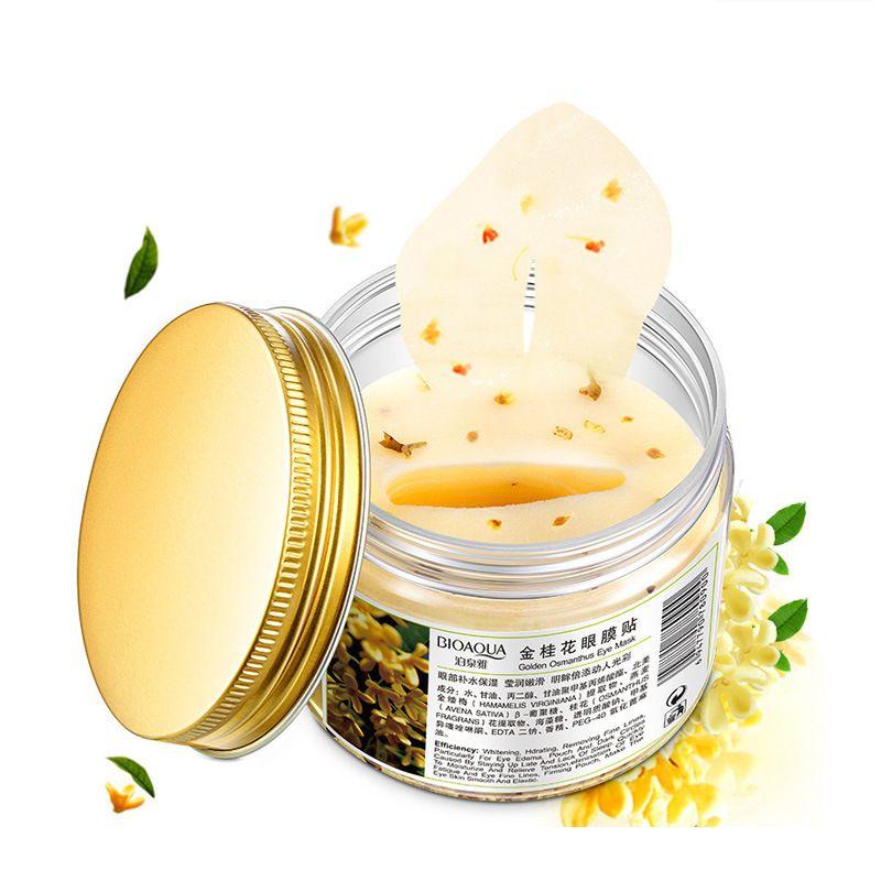 80 pièces/bouteille or Osmanthus masque pour les yeux femmes collagène gel lactosérum protéine soins du visage sommeil patchs santé mascaras de dormir