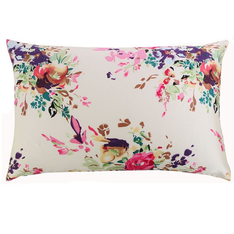 New Free shipping 100% nature mulberry floral silk pillowcase zipper pillowcases <font><b>pillow</b></font> case for healthy standard queen king