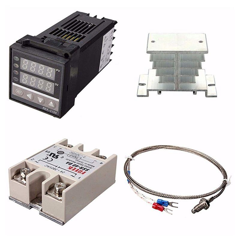 Digital 220V PID REX-C100 Temperature Controller + max.40A SSR + K Thermocouple, PID Controller Set + Heat Sink