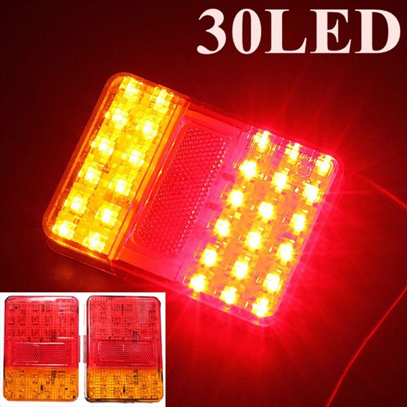 Best Quality Auto Parts A Pair 12V 30 LEDs Taillight Truck Lamp Rear Tail Trailer Lights E-Marked Warning Lights