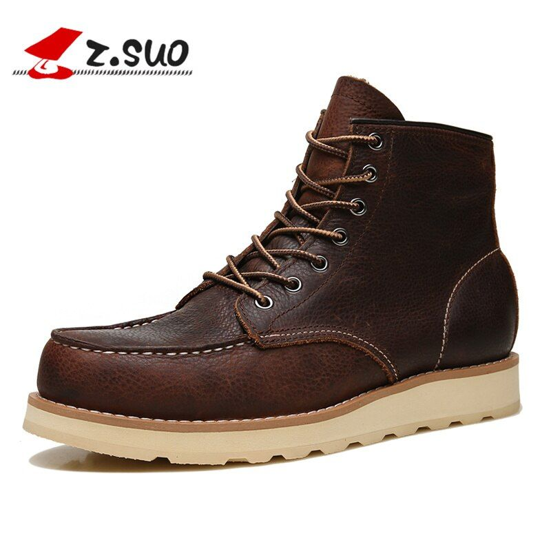 Z. Suo fashion men's boots,breathable cow leather boots male winter,cylinder in the leisure Man boots,Botas DE cuero Man ZS18118