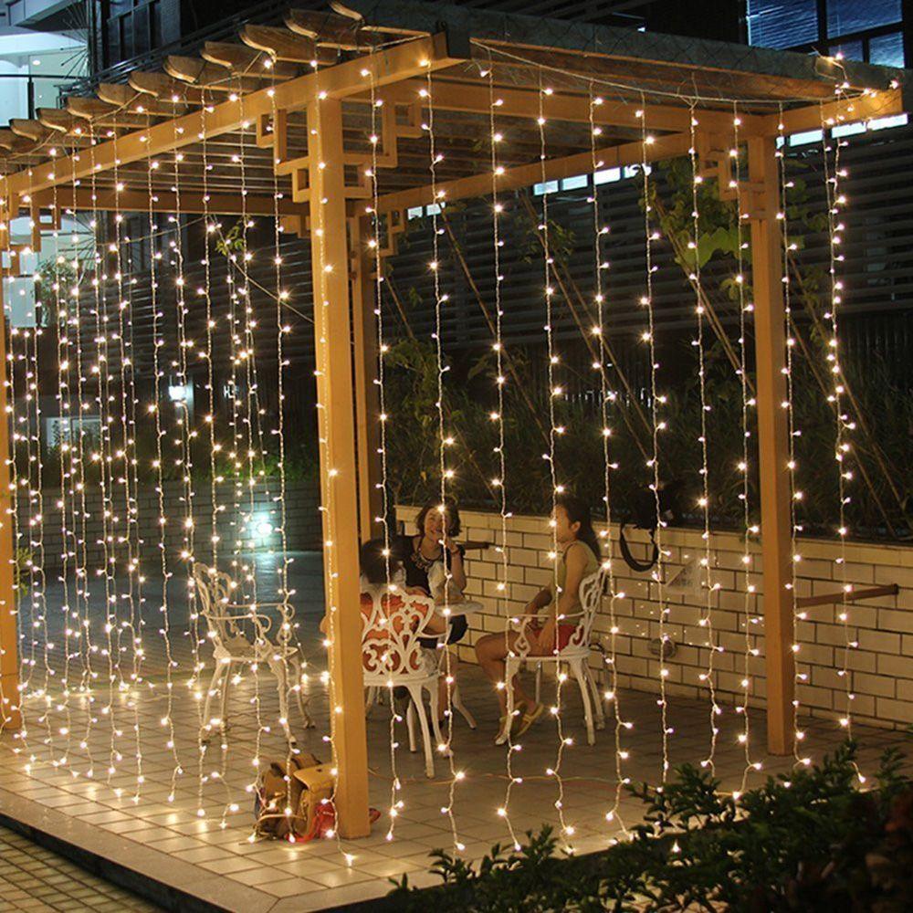 HNGCHOIGE 1 satz EU Stecker 3x2 mt 224 LED Indoor Outdoor Vorhang Fee String Licht Für Hochzeit Decor party Garten Platz 5 Farbe