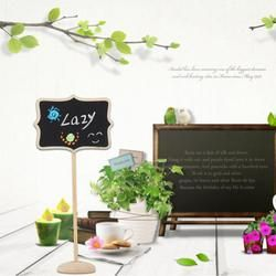 10Pcs/set Wood Floral Border Mini Blackboard Stand Wedding Lolly Party Wooden Tag Black Board Chalkboard for Party Office School