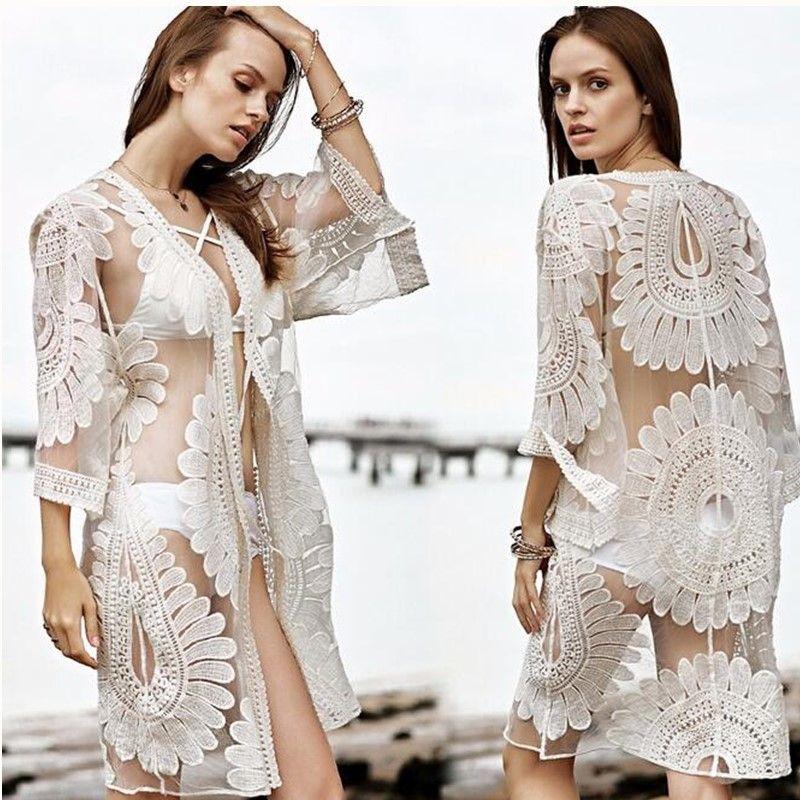 Baodilang paréo Plage cache Floral broderie 2018 Bikini maillot De bain couvrir Robe De Plage Plage Cardigan été maillot De bain