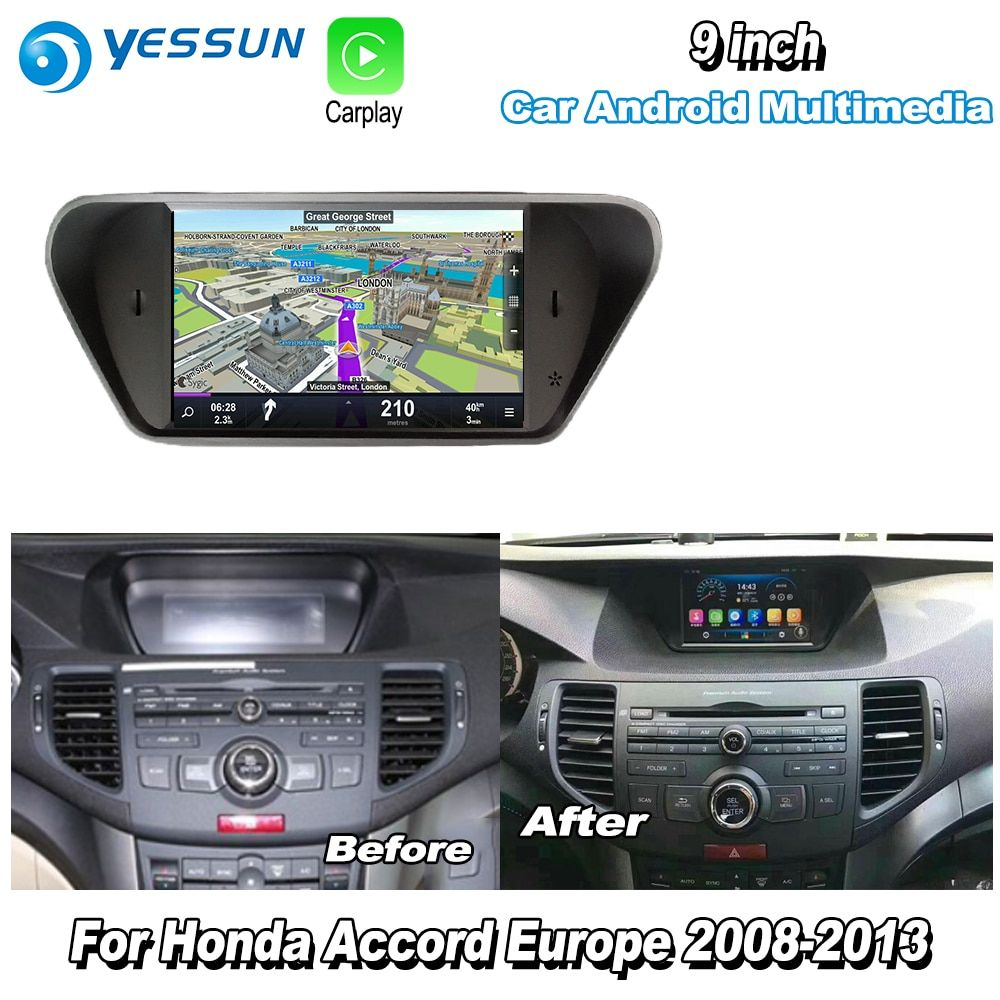 YESSUN Für Honda Für Accord 8 Europa 2008-2013 Auto Android Carplay GPS Navi maps Navigation Player Radio Multimedia HD keine CD DVD