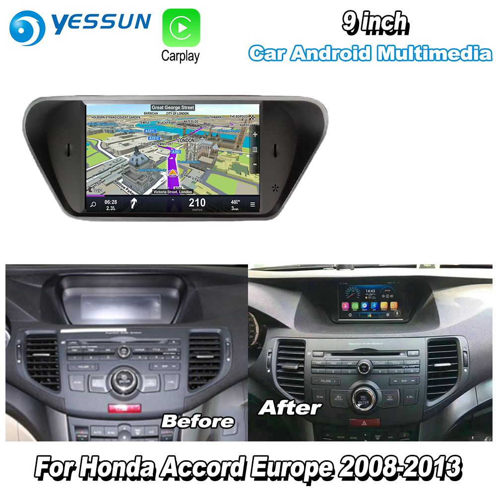 YESSUN For Honda For Accord 8 Europe 2008-2013 Car Android Carplay GPS Navi maps Navigation Player Radio Multimedia HD no CD DVD