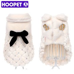 HOOPET ropa elegante abrigo de invierno de piel pequeño perro gato ropa Bowknot Chihuahua